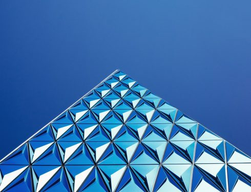 Triangle glass shiny building
